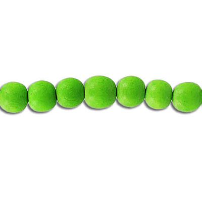Wood bead, 6mm, round, green, 67 beads per strand, 16 inch strands