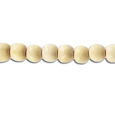 Wood bead, 6mm, round, natural, 67 beads per strand, 16 inch strands