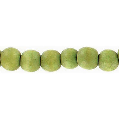 Wood bead, 6mm, round, olive green, 67 beads per strand, 16 inch strands