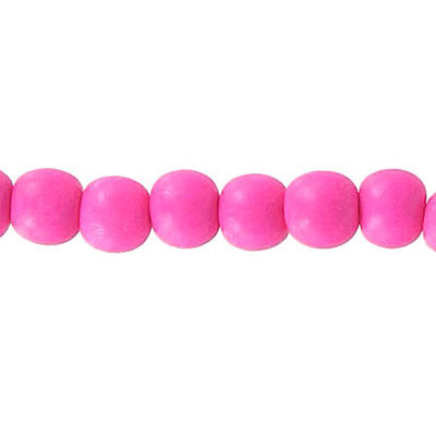 Wood bead, 6mm, round, pink, 67 beads per strand, 16 inch strands