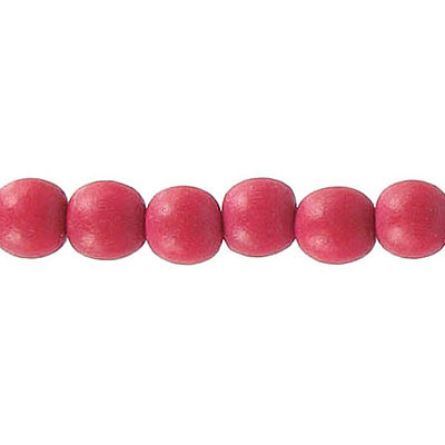 Wood bead, 6mm, round, red, 67 beads per strand, 16 inch strands