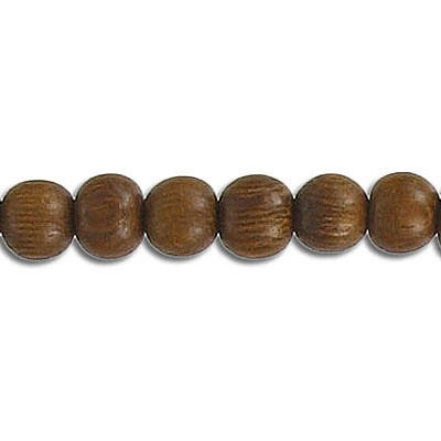 Wood bead, 6mm, round, robles wood, 16 inch strand