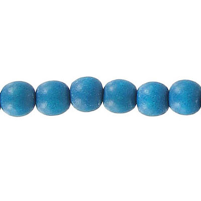 Wood bead, 6mm, round, turquoise, 67 beads per strand, 16 inch strands