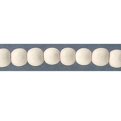 Wood bead, 6mm, round, off-white, 67 beads per strand, 16 inch strands