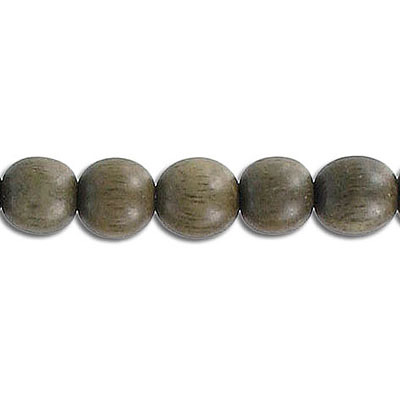 Wood bead, 8mm, round, grey wood, 16 inch strand