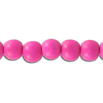 Wood bead, 8mm, round, pink, 50 beads per strand, 16 inch strands