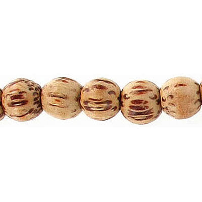 Wood bead, 8mm, round, palm wood, apx. inside diameter 2mm, apx. 54 beads per strand, 16 inch strand
