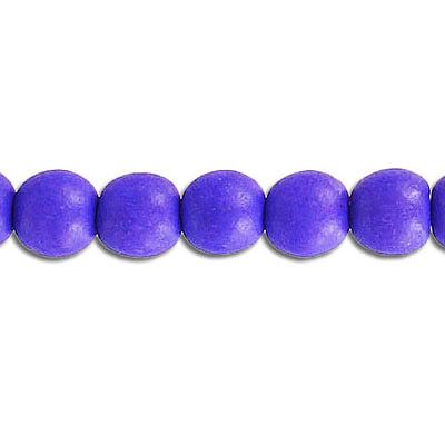 Wood bead, 8mm, round, purple, 50 beads per strand, 16 inch strands
