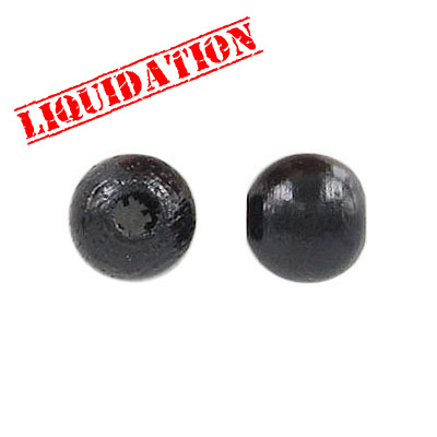 Wood bead, 10mm, black