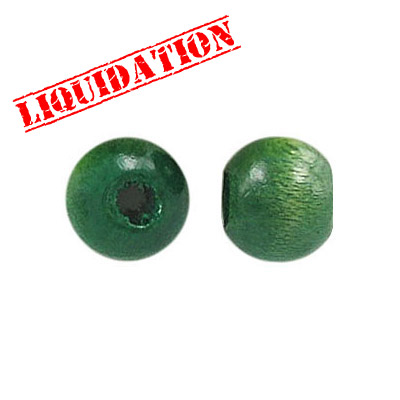 Wood bead, 10mm, green
