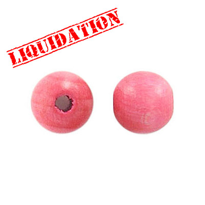 Wood bead, 10mm, pink