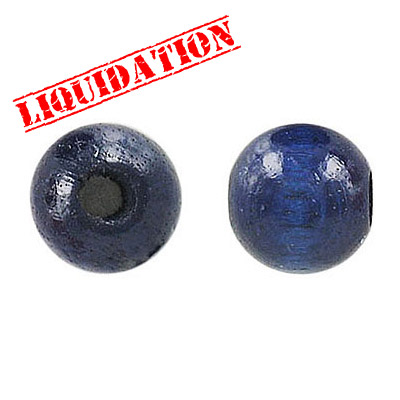 Wood bead, 12mm, blue