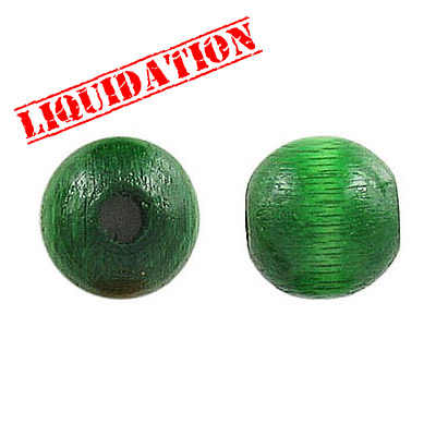 Wood bead, 12mm, green
