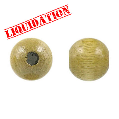 Wood bead, 12mm, light khaki