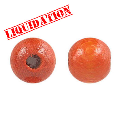 Wood bead, 12mm, orange