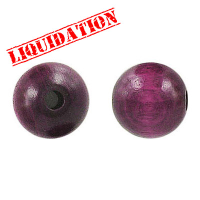Wood bead, 12mm, purple