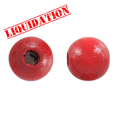 Wood bead, 12mm, red