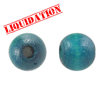 Wood bead, 12mm, teal