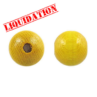 Wood bead, 12mm, yellow
