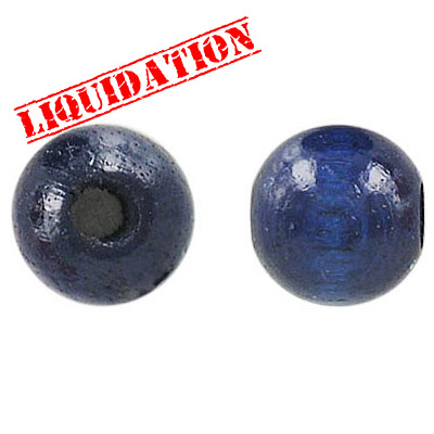 Wood bead, 14mm, round, blue