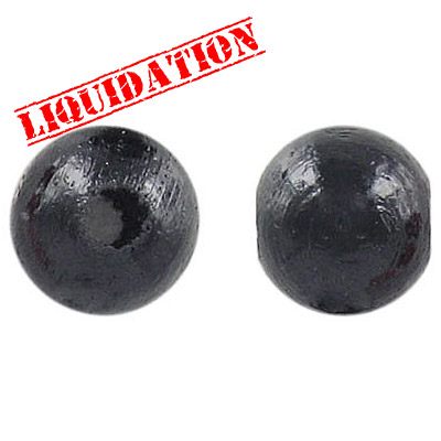 Wood bead, 14mm, round, black