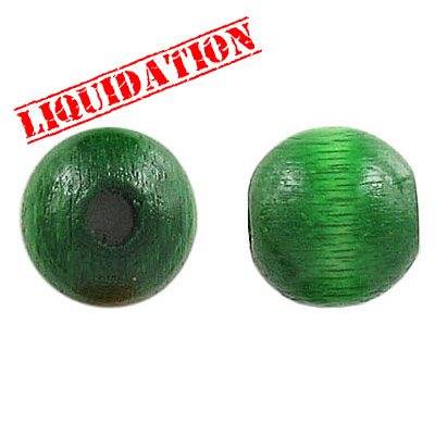 Wood bead, 14mm, round, green