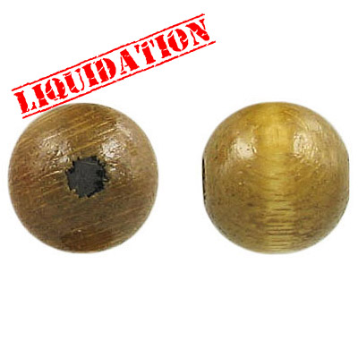 Wood bead, 14mm, round, khaki