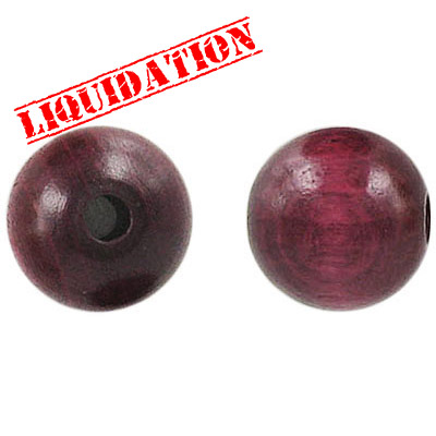 Wood bead, 14mm, round, maroon
