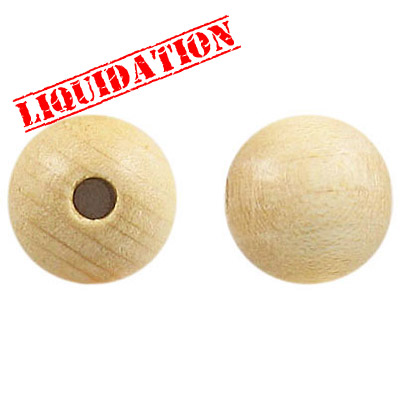 Wood bead, 14mm, round, natural