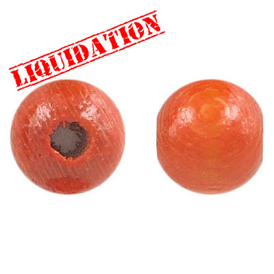 LIQUIDATION! Wood bead, 14mm, round, lacquered, orange