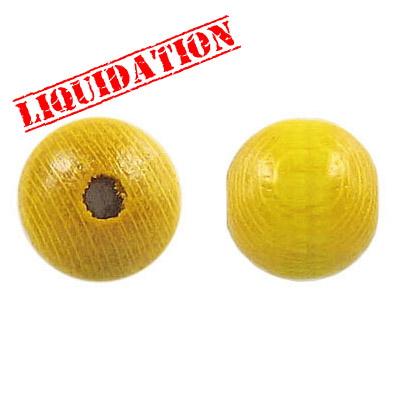 Wood bead, 14mm, round, yellow