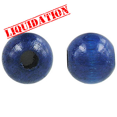 Wood bead, 16mm, round, blue