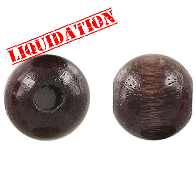 Wood bead, 16mm, round, walnut