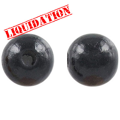 Wood bead, 18mm, round, black