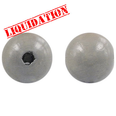 Wood bead, 18mm, round, gray