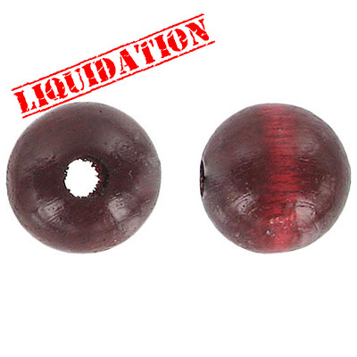 Wood bead, 18mm, round, maroon