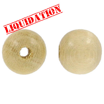 Wood bead, 18mm, round, natural