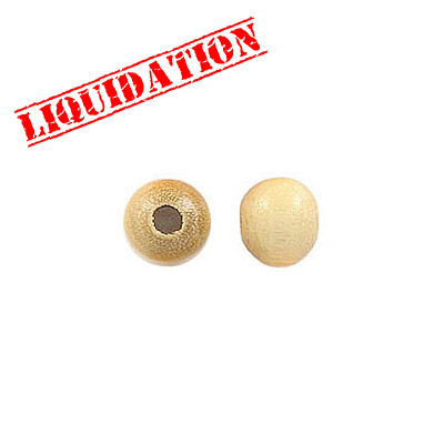 Wood bead, 6mm, round, natural