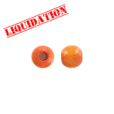 Wood bead, 6mm, round, orange
