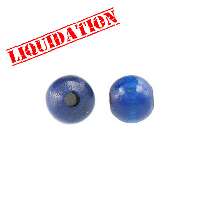 Wood bead, 8mm, round, blue