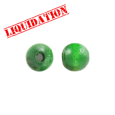 Wood bead, 8mm, round, green
