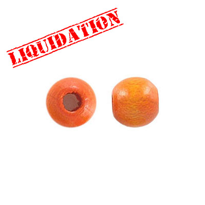 Wood bead, 8mm, round, orange