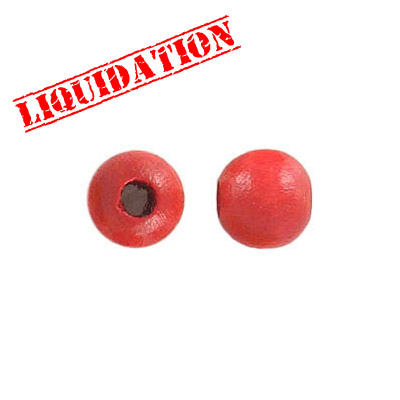 Wood bead, 8mm, round, red