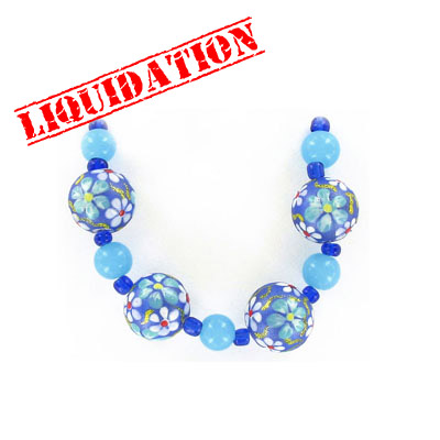 Glass beads, 14mm, round, hand painted, blue and turquoise floral, 5 inch strand
