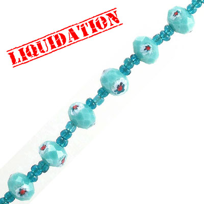 Glass beads, 12mm, rondelle, faceted, millefiori, turquoise
