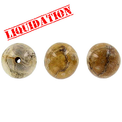 Laminated dried leaves bead, 10mm round