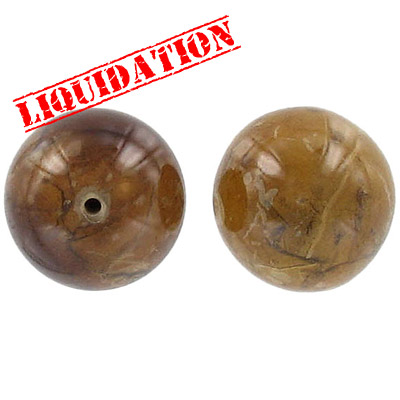 Laminated dried leaves bead, 20mm round