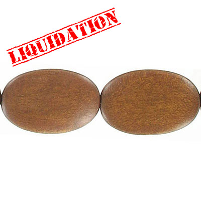 Wood bead, flat oval, 30mm, walnut, 7 inch strand
