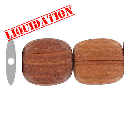 Wood bead, 15mm, flat square bead, bayong wood, 8 inch strand