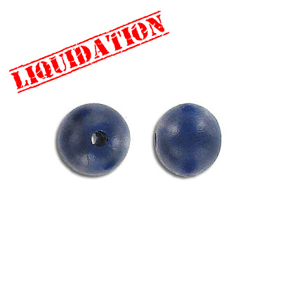 Wood bead, 10mm, round, blue, 8 inch strand